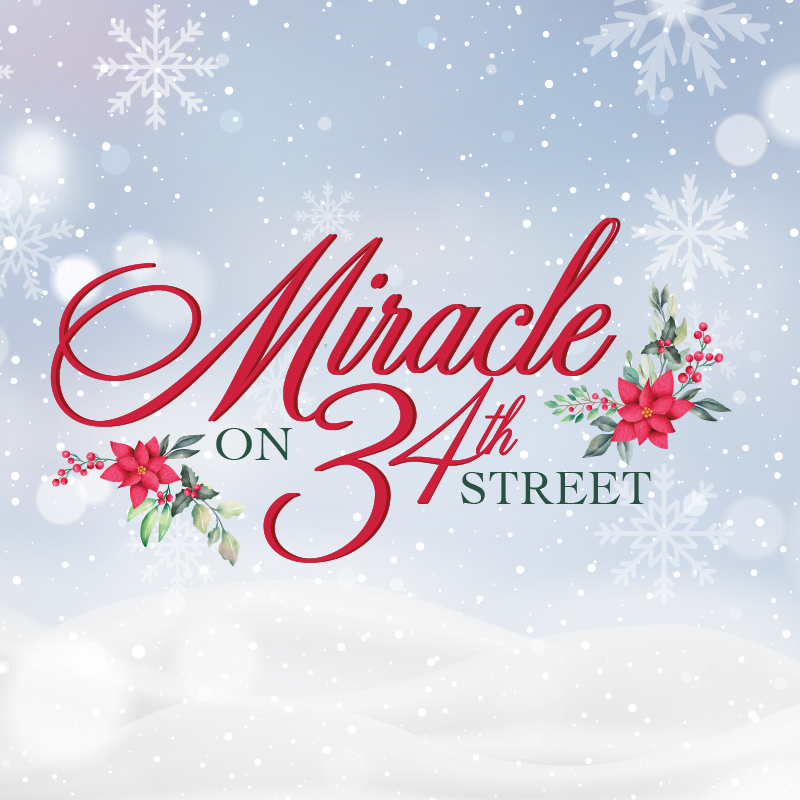 Miracle on 34th Street logo with background